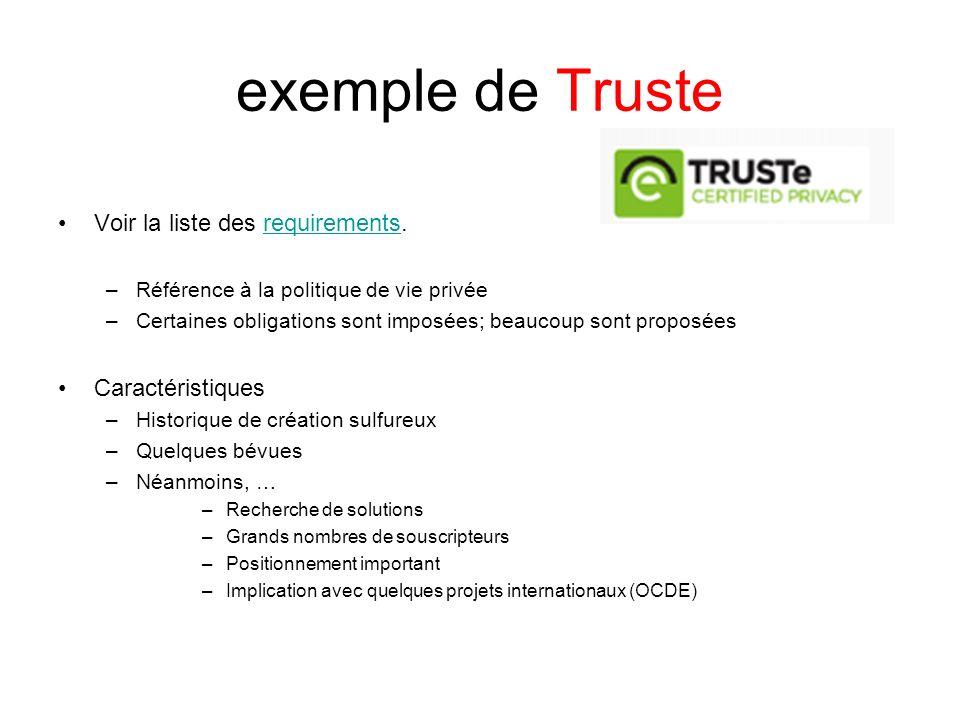 exemple de Truste Voir la liste des requirements. Caractéristiques