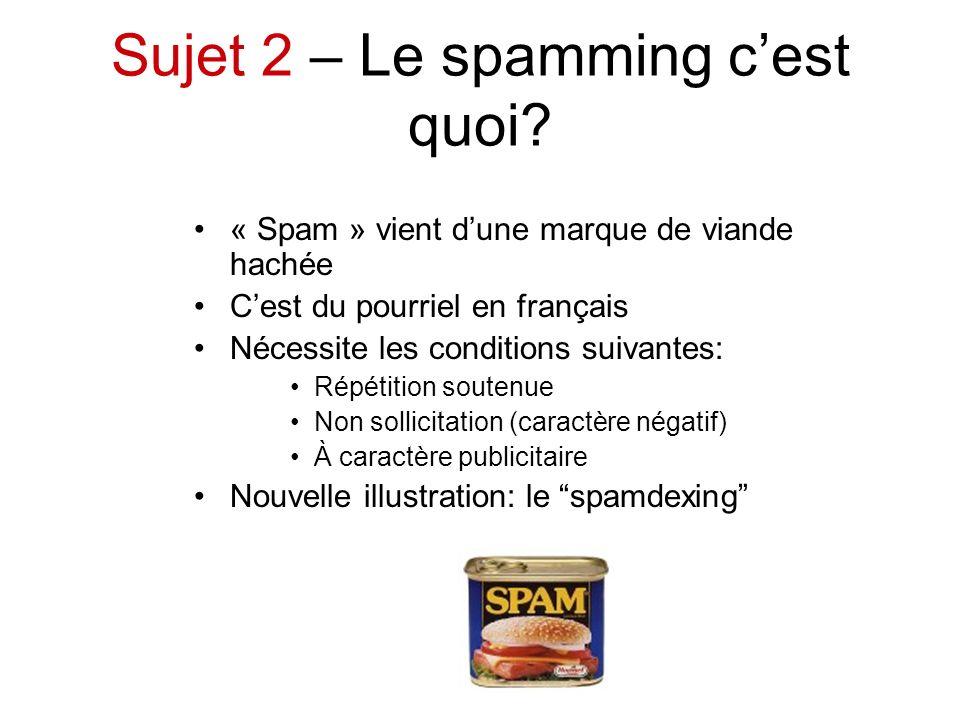 Sujet 2 – Le spamming c'est quoi