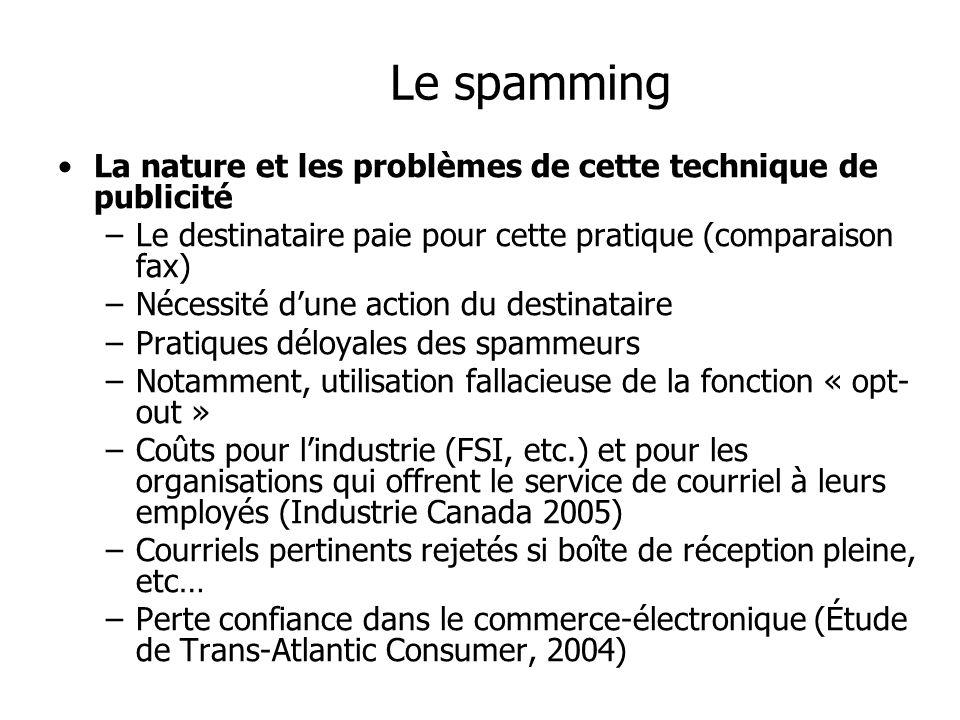 Le spamming La nature et les problèmes de cette technique de publicité