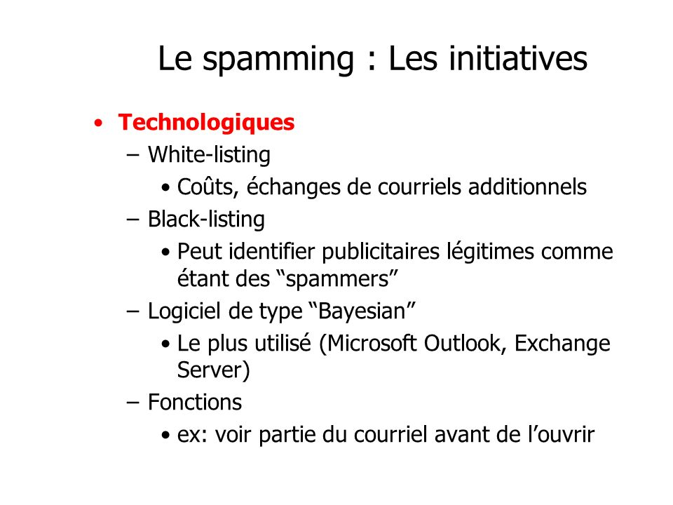 Le spamming : Les initiatives