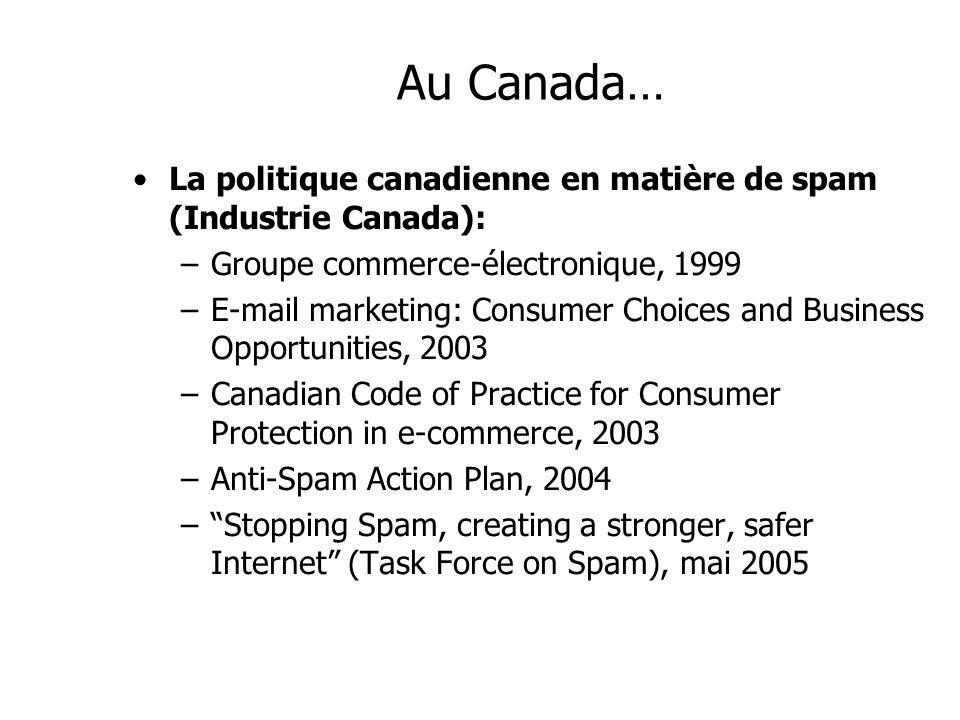 Au Canada…La politique canadienne en matière de spam (Industrie Canada): Groupe commerce-électronique, 1999.