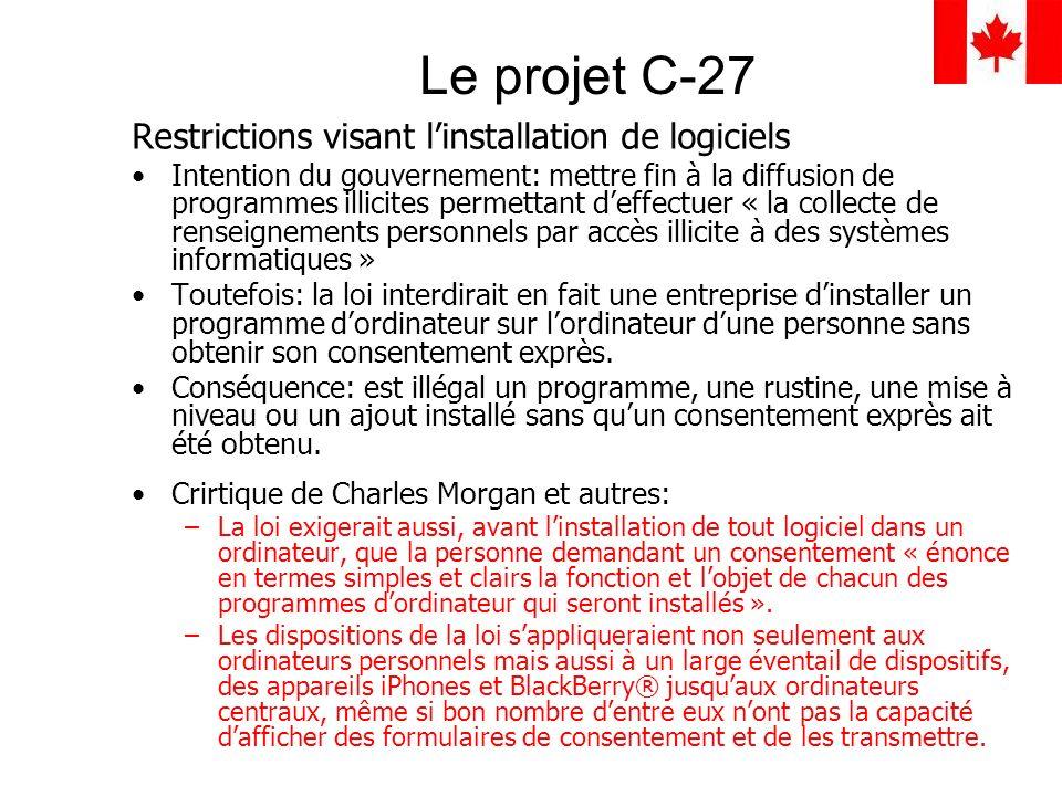 Le projet C-27 Restrictions visant l'installation de logiciels