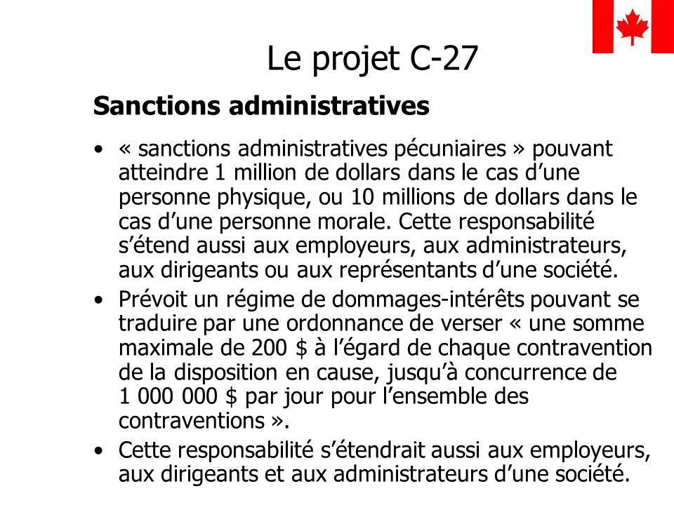 Le projet C-27 Sanctions administratives