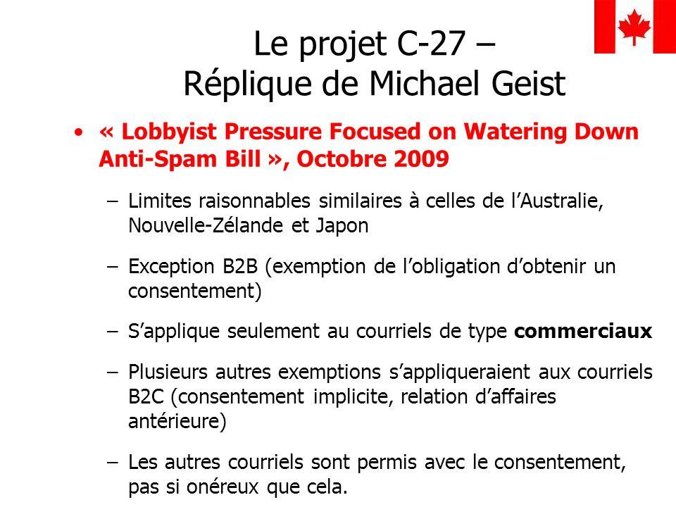 Le projet C-27 – Réplique de Michael Geist
