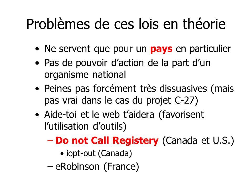 Problèmes de ces lois en théorie