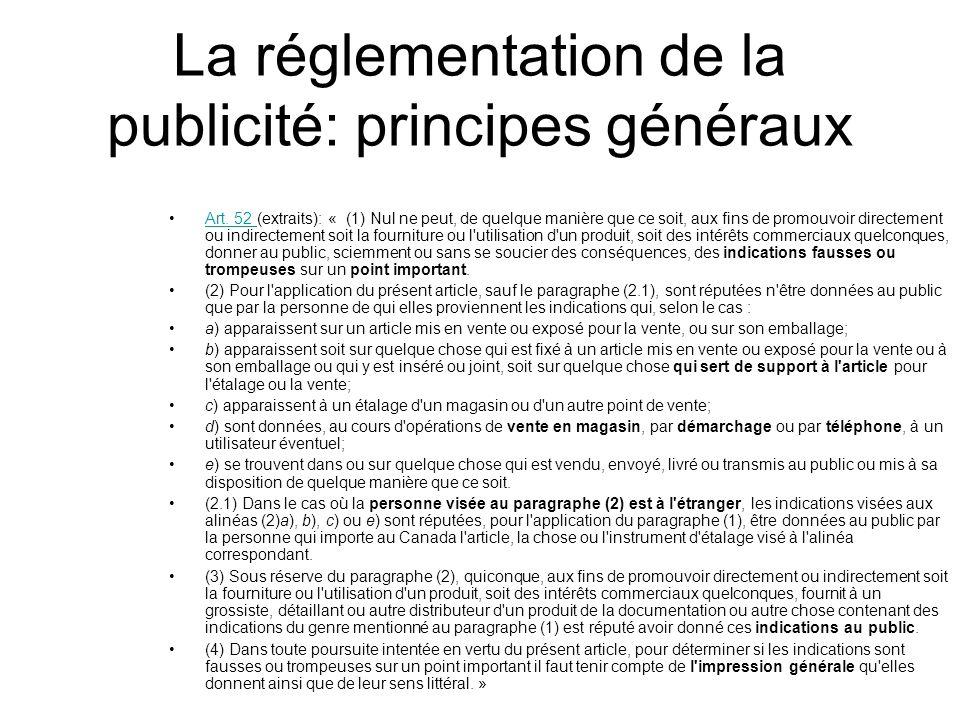 La réglementation de la publicité: principes généraux