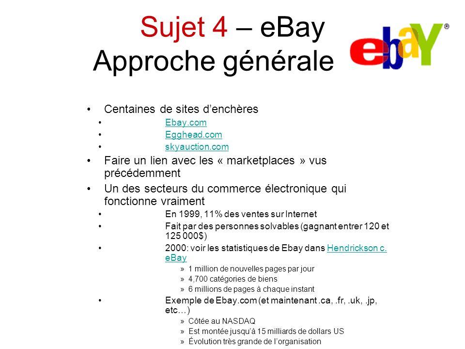Sujet 4 – eBay Approche générale