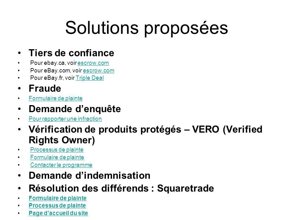 Solutions proposées Tiers de confiance Fraude Demande d'enquête