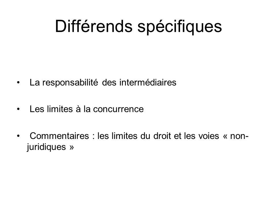 Différends spécifiques
