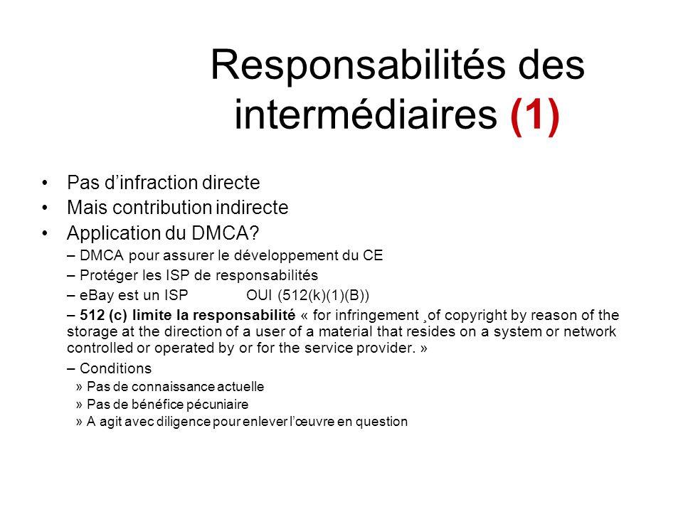 Responsabilités des intermédiaires (1)