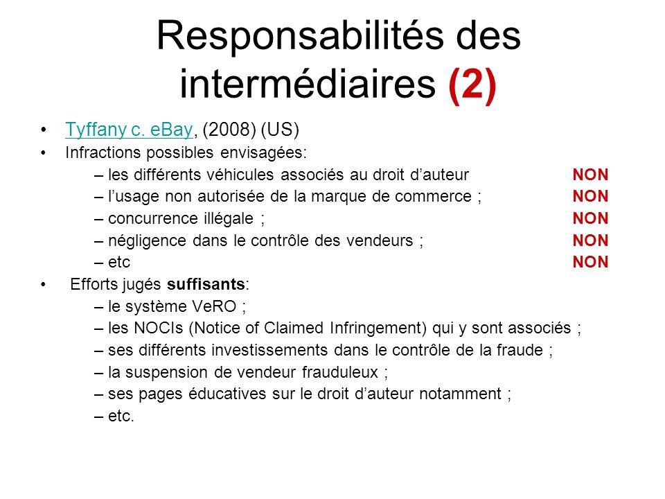 Responsabilités des intermédiaires (2)
