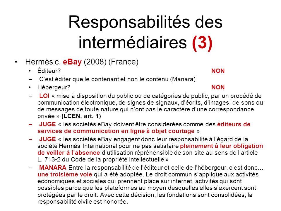 Responsabilités des intermédiaires (3)