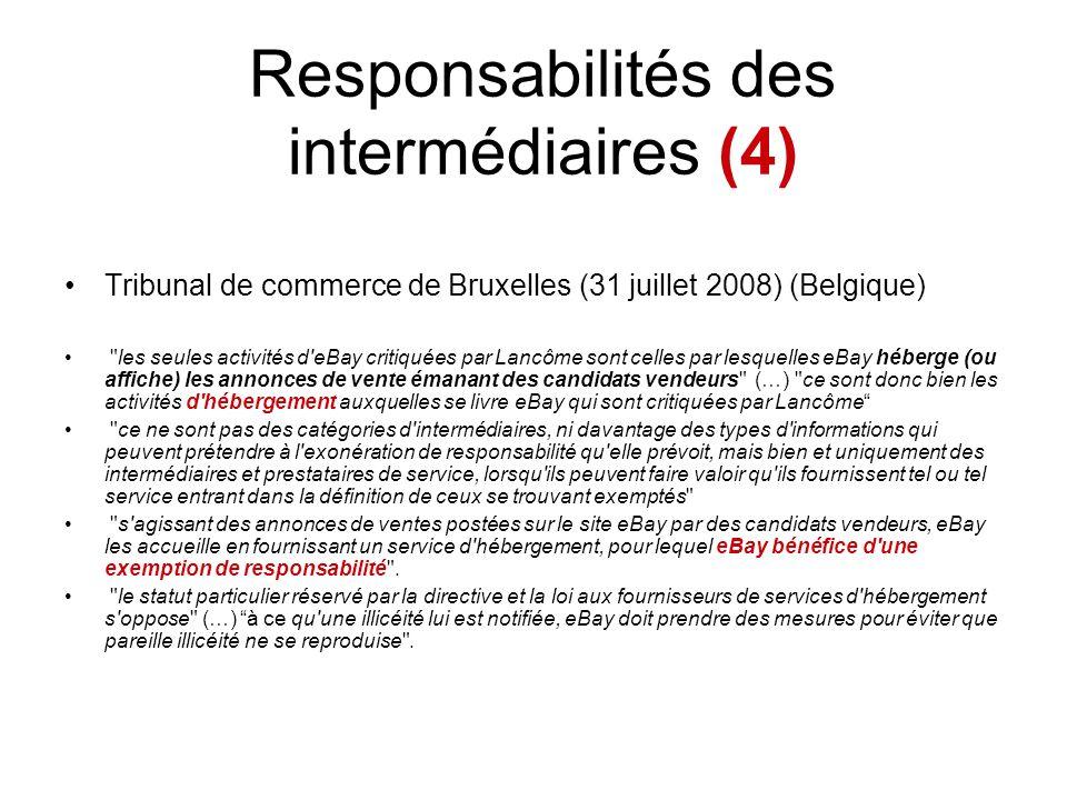 Responsabilités des intermédiaires (4)