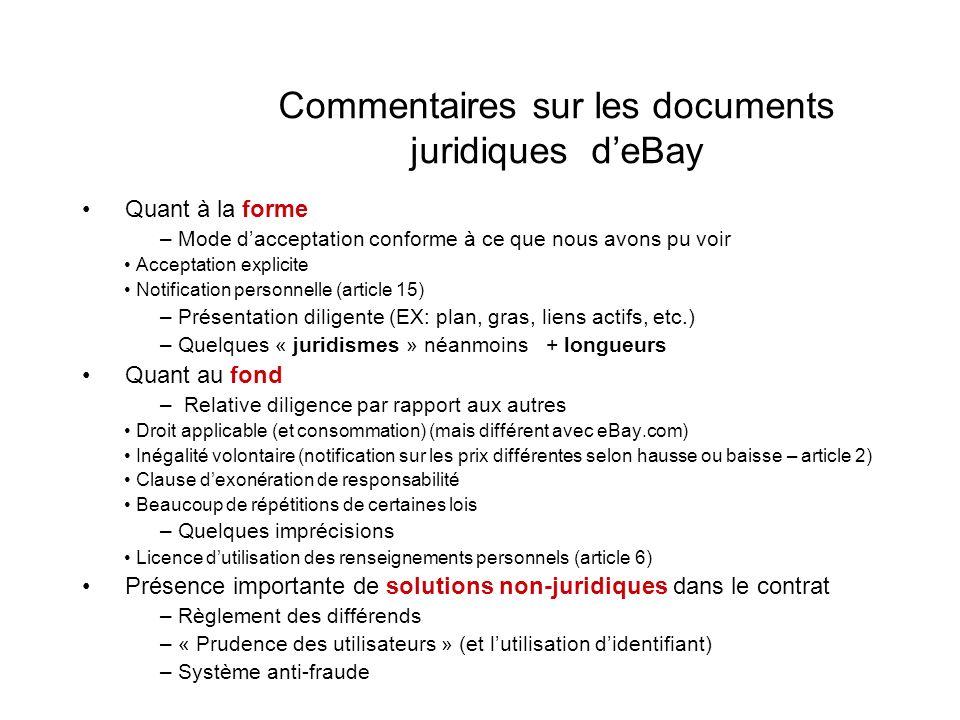 Commentaires sur les documents juridiques d'eBay