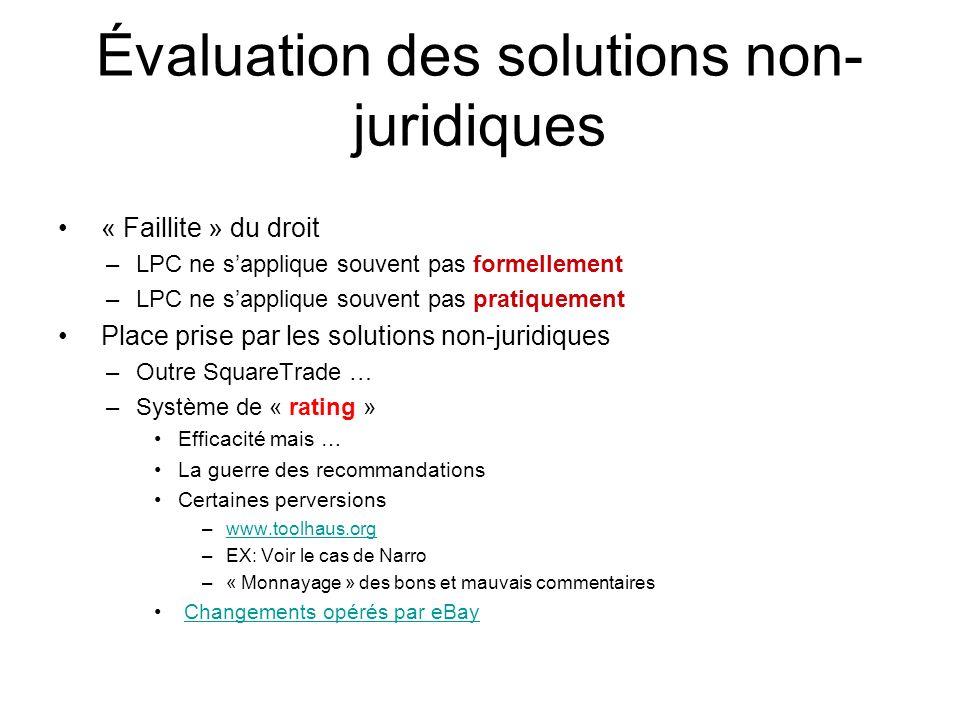 Évaluation des solutions non-juridiques