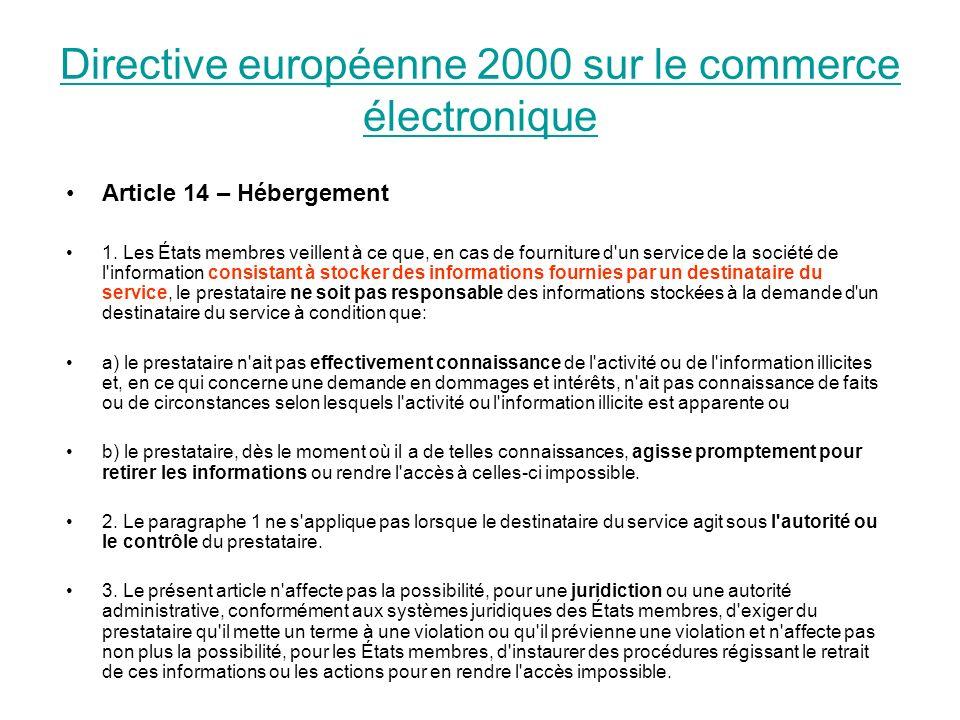 Directive européenne 2000 sur le commerce électronique