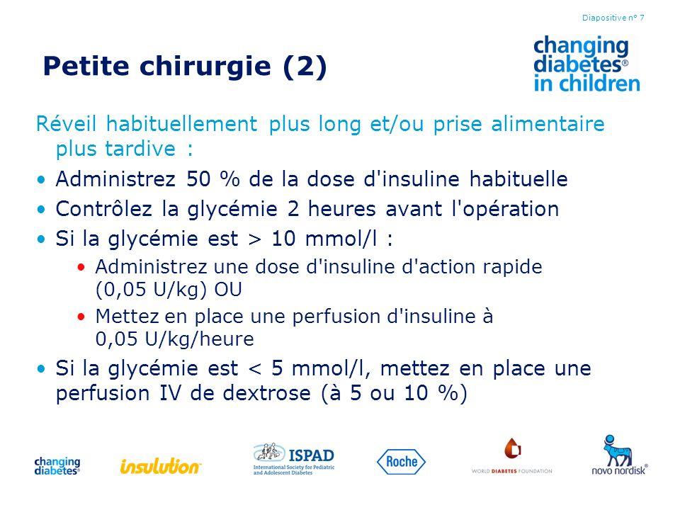 Petite chirurgie (2) Réveil habituellement plus long et/ou prise alimentaire plus tardive : Administrez 50 % de la dose d insuline habituelle.
