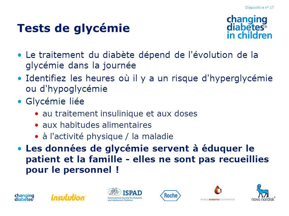 Tests de glycémieLe traitement du diabète dépend de l évolution de la glycémie dans la journée.