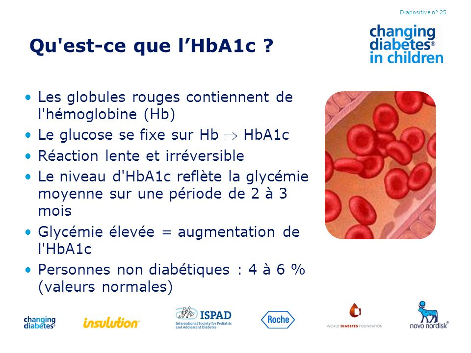 Qu est-ce que l'HbA1c Les globules rouges contiennent de l hémoglobine (Hb) Le glucose se fixe sur Hb  HbA1c.