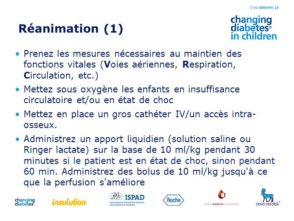 Diapositive n° 14 Réanimation (1) Prenez les mesures nécessaires au maintien des fonctions vitales (Voies aériennes, Respiration, Circulation, etc.)