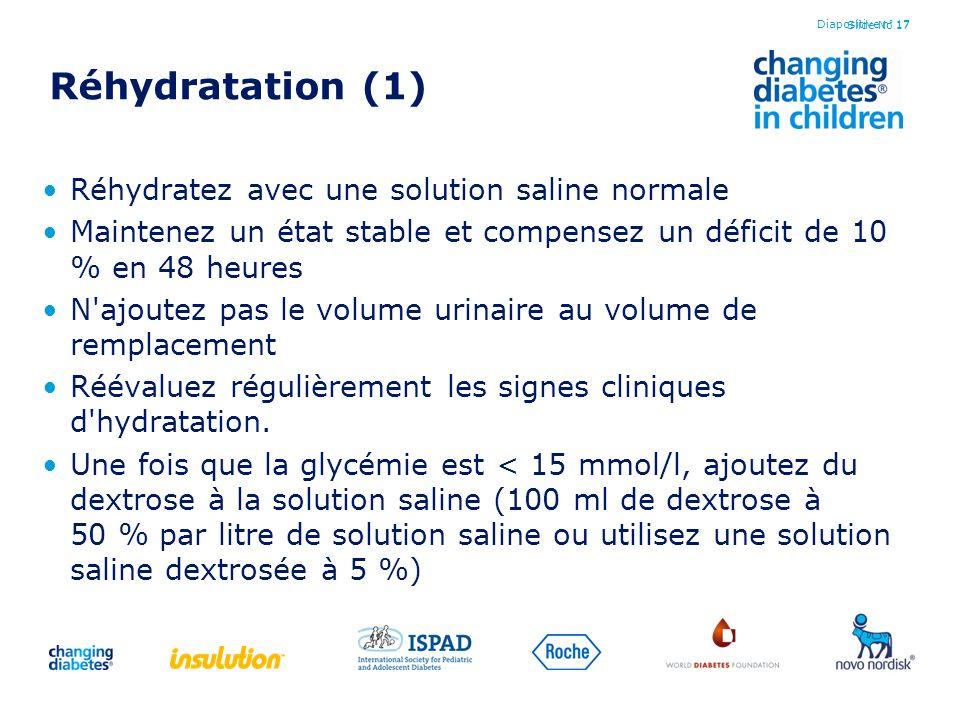 Réhydratation (1) Réhydratez avec une solution saline normale