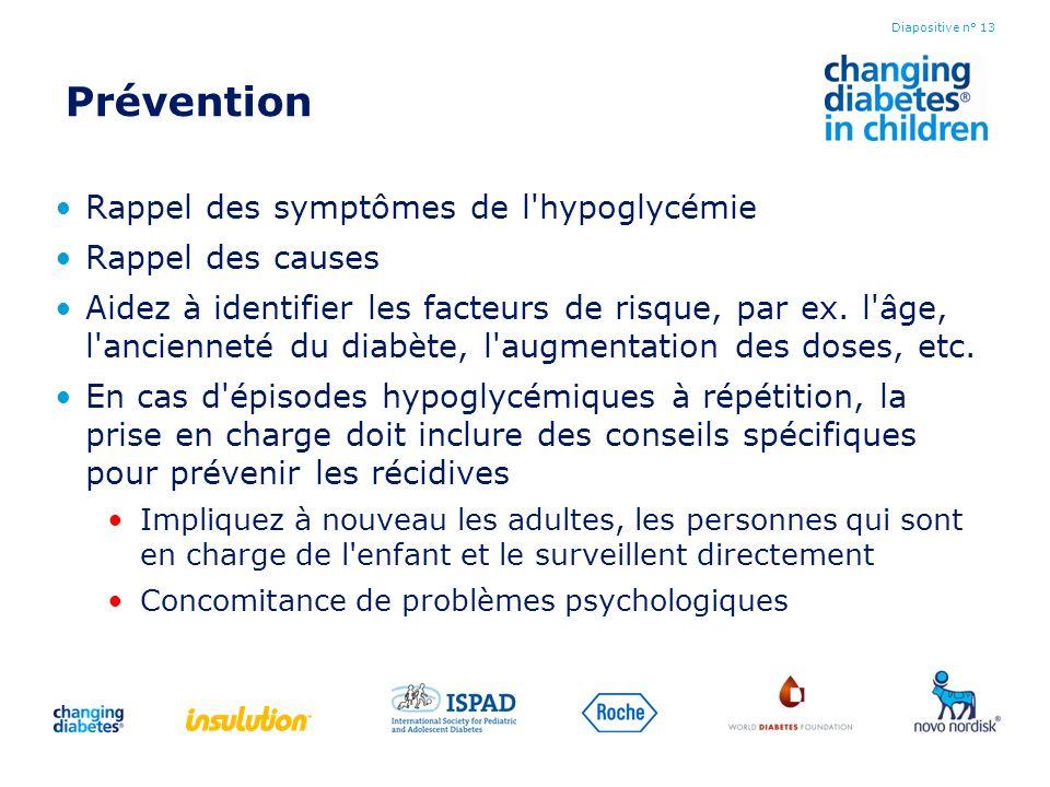 Prévention Rappel des symptômes de l hypoglycémie Rappel des causes