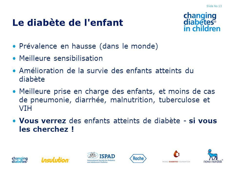 Le diabète de l enfant Prévalence en hausse (dans le monde)
