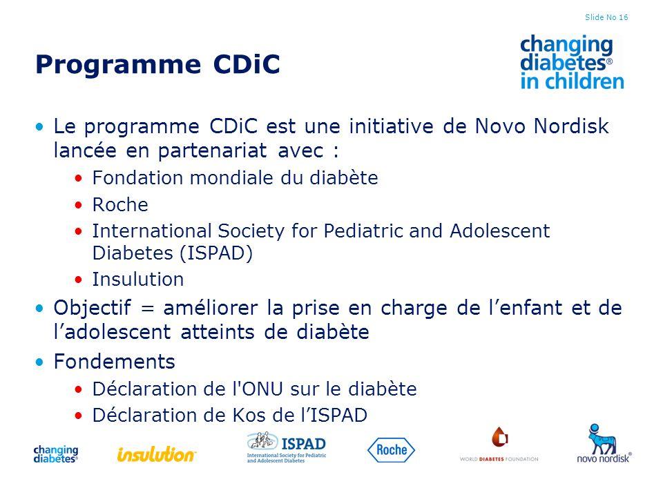 Programme CDiC Le programme CDiC est une initiative de Novo Nordisk lancée en partenariat avec : Fondation mondiale du diabète.