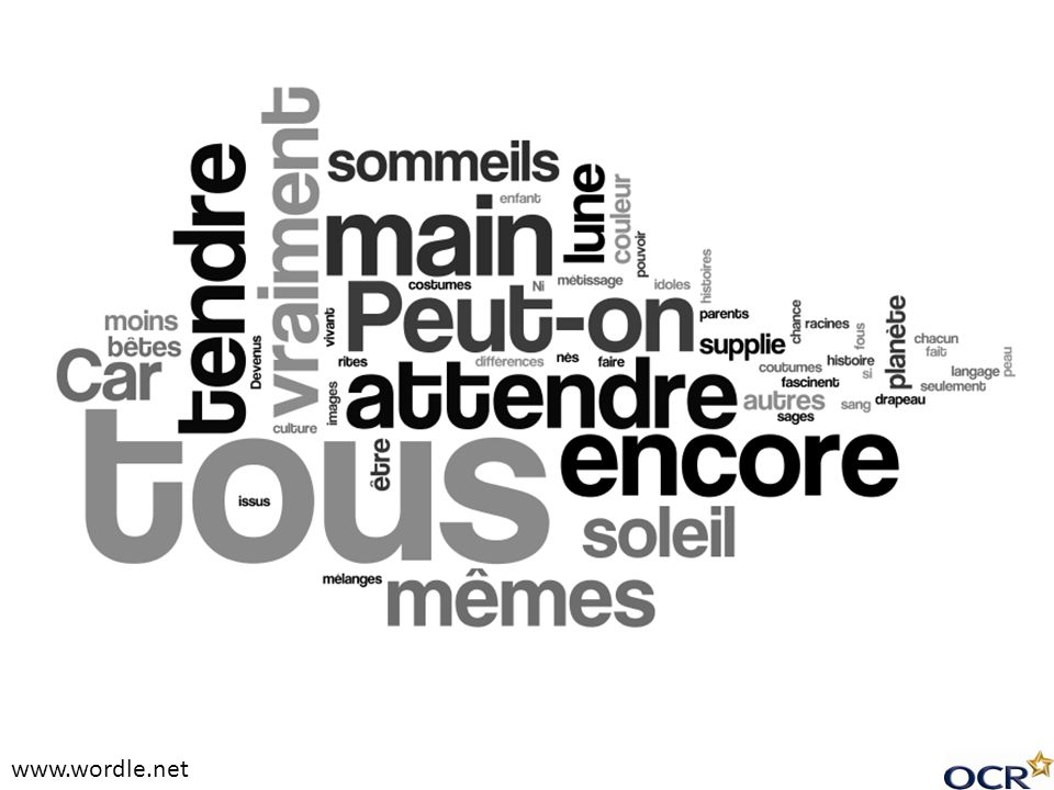 Example of Wordle from Soleil, another song by Grégoire
