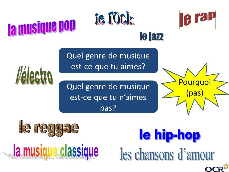 le rock le rap la musique pop le jazz l'électro le reggae le hip-hop