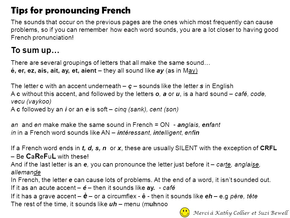 Tips for pronouncing French