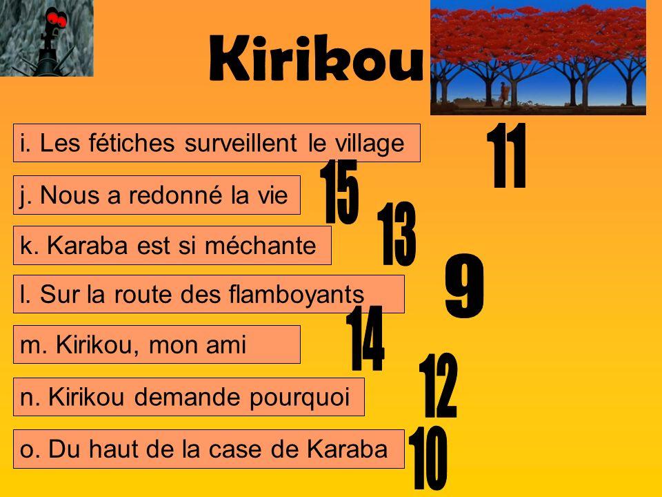 Kirikou 11 15 13 9 14 12 10 i. Les fétiches surveillent le village