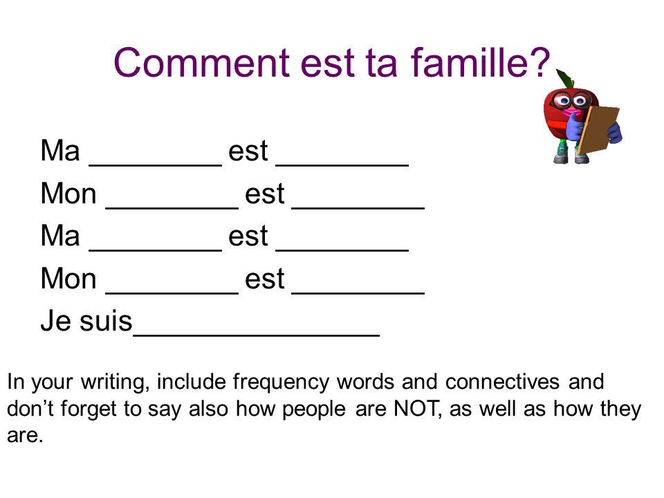 Comment est ta famille Ma ________ est ________