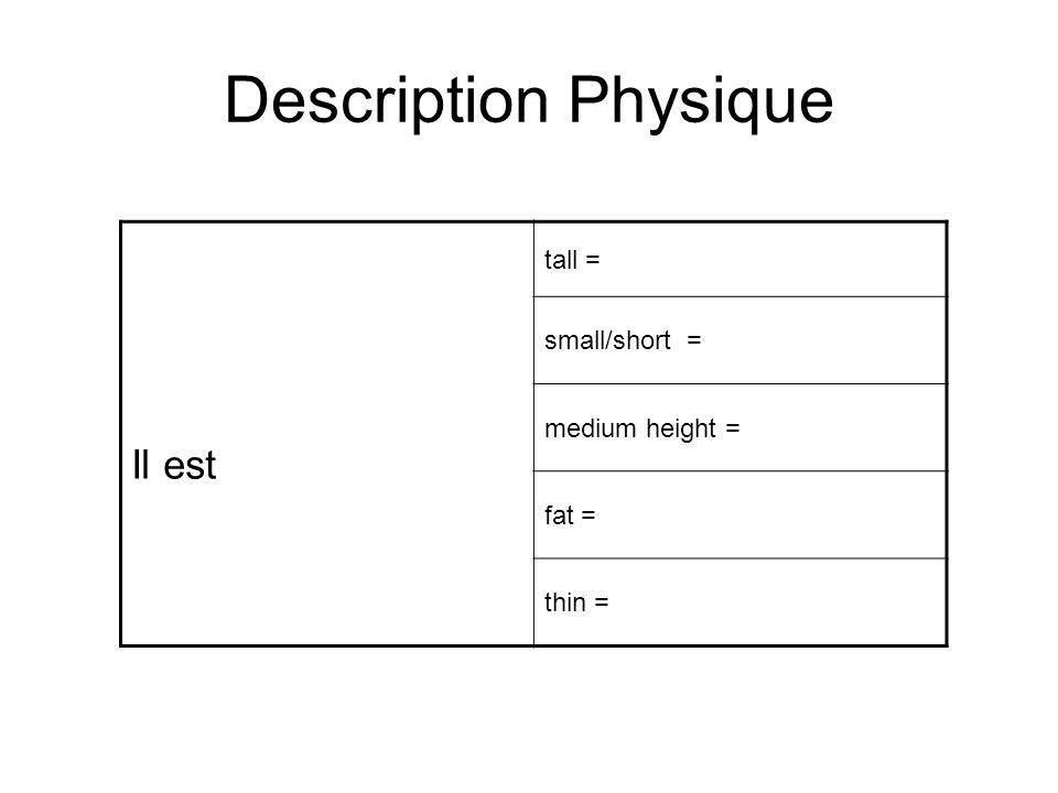 Description Physique Il est tall = small/short = medium height = fat =