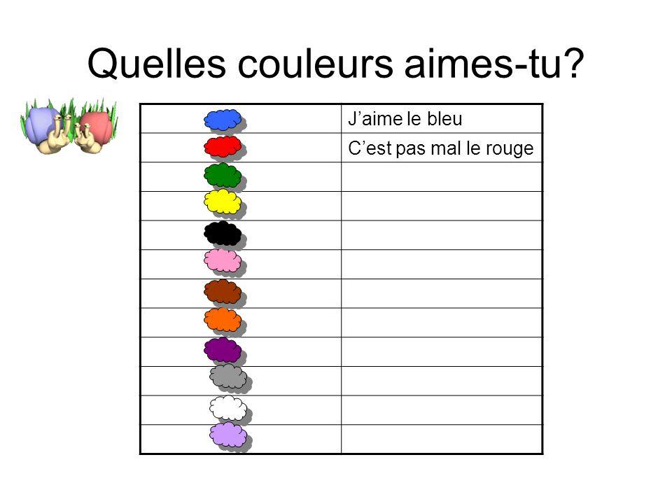 Quelles couleurs aimes-tu
