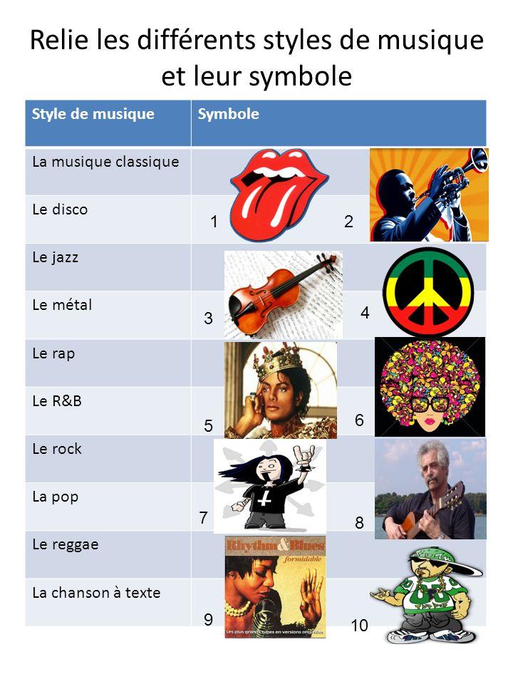 Relie les différents styles de musique et leur symbole