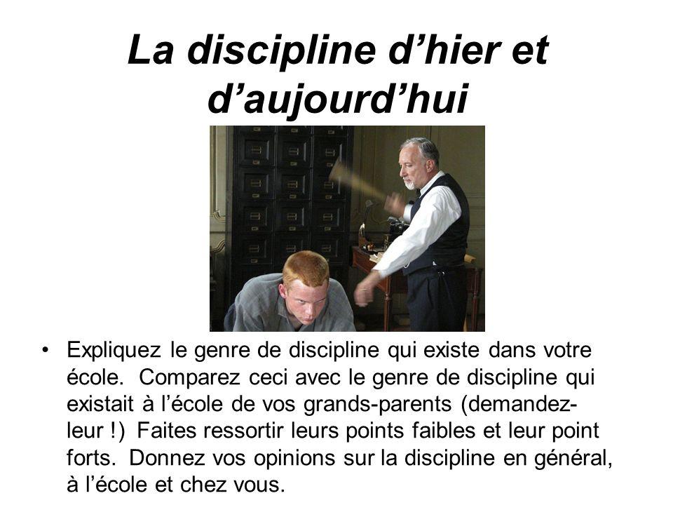 La discipline d'hier et d'aujourd'hui