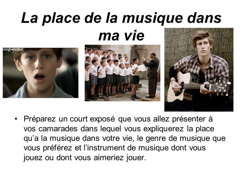 La place de la musique dans ma vie
