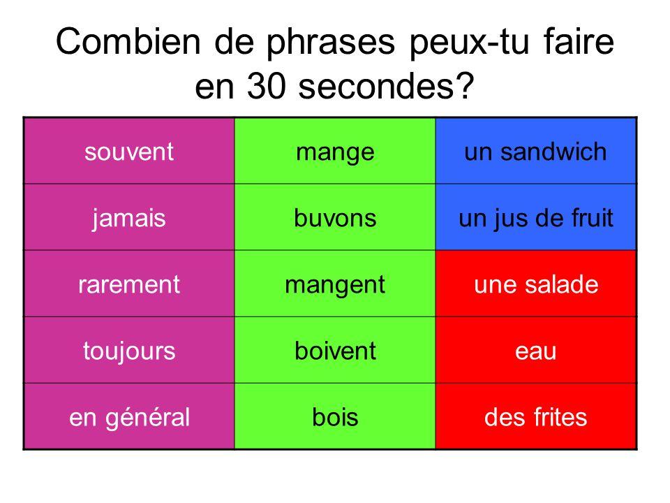 Combien de phrases peux-tu faire en 30 secondes