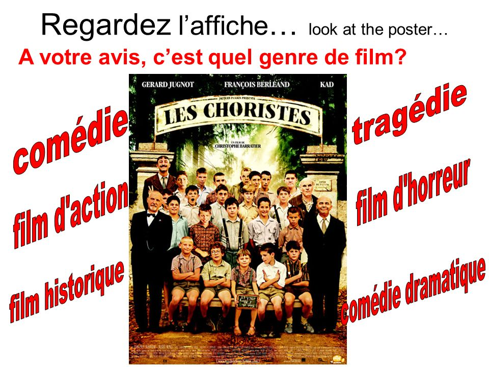 Regardez l'affiche… look at the poster…