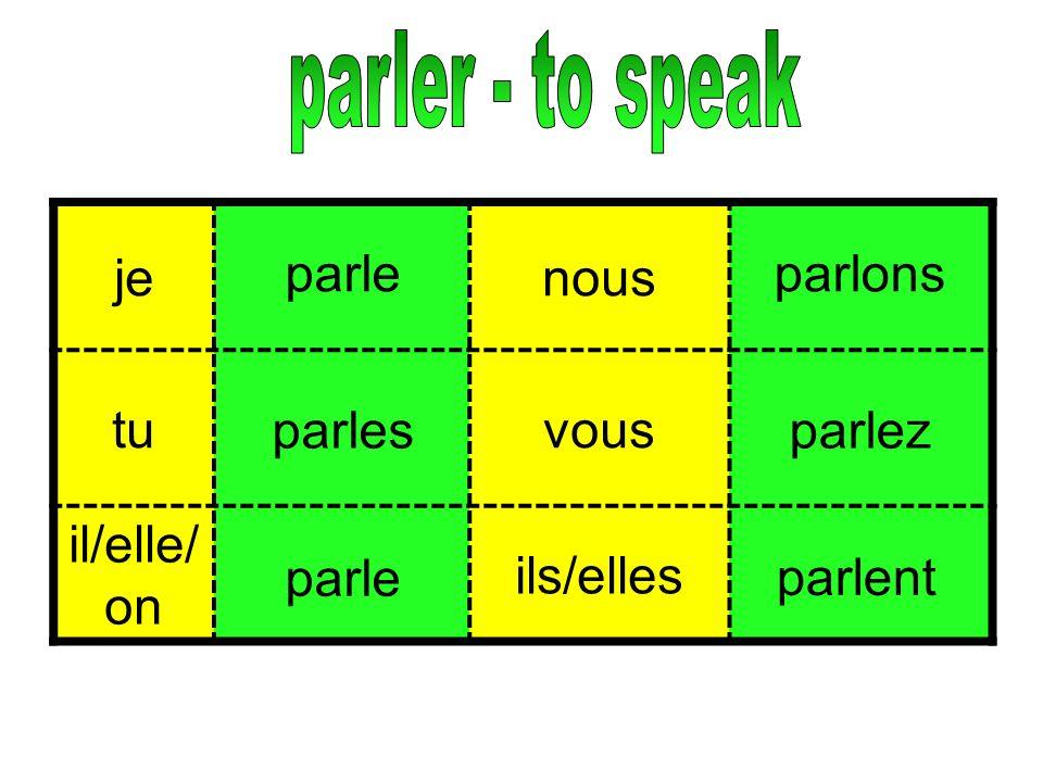 parler - to speak je nous tu vous il/elle/on ils/elles parle parlons