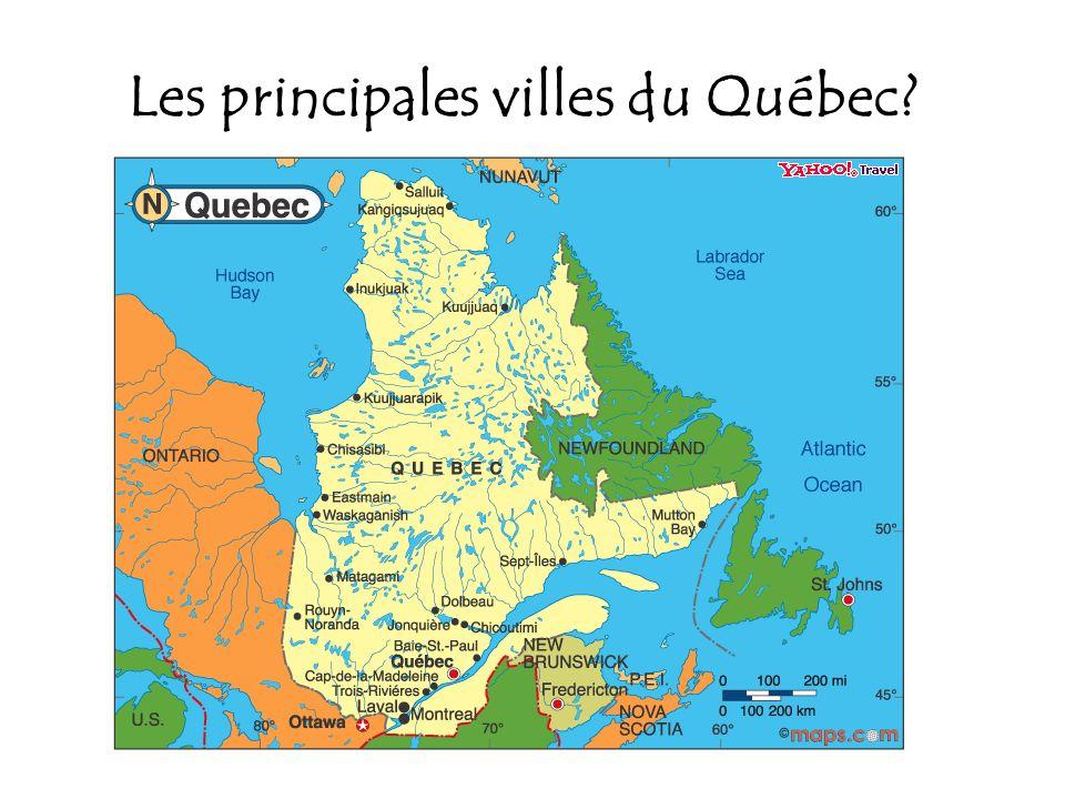 Les principales villes du Québec