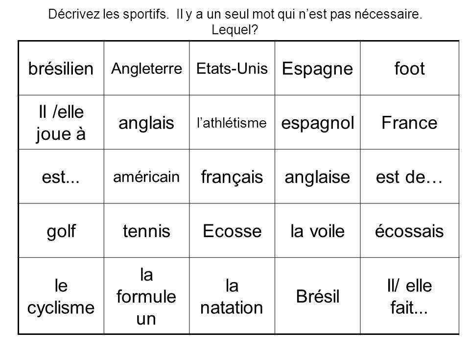 brésilien Espagne foot Il /elle joue à anglais espagnol France est...