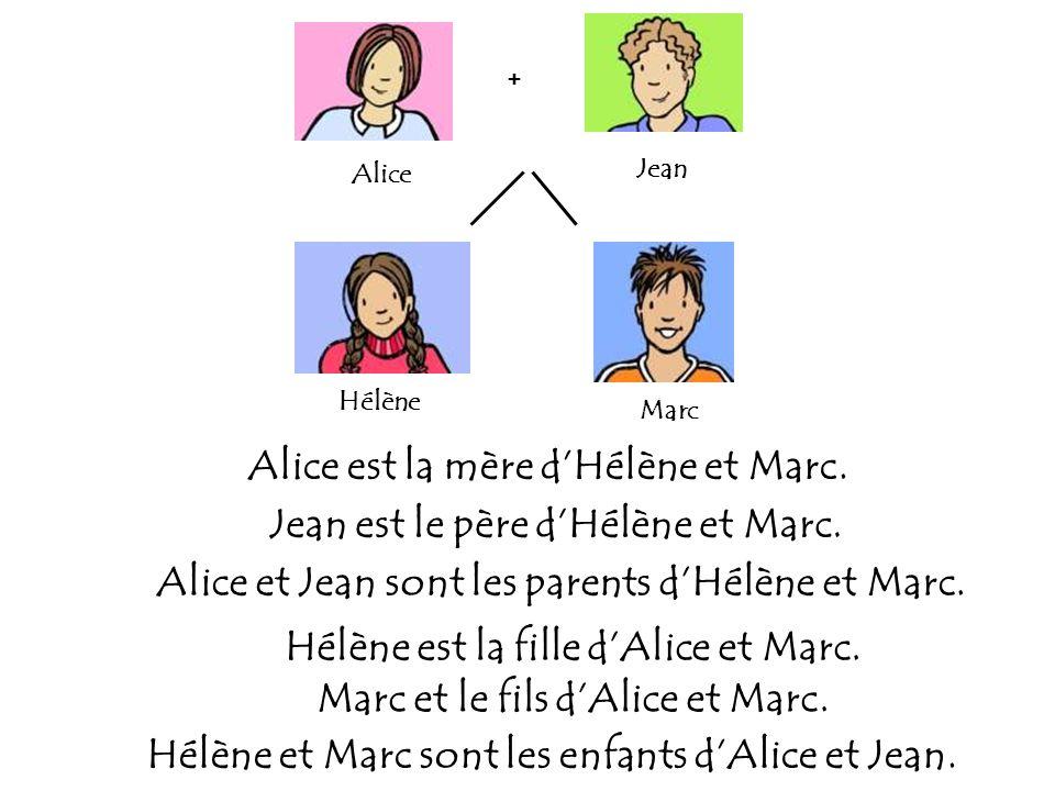 Alice est la mère d'Hélène et Marc. Jean est le père d'Hélène et Marc.