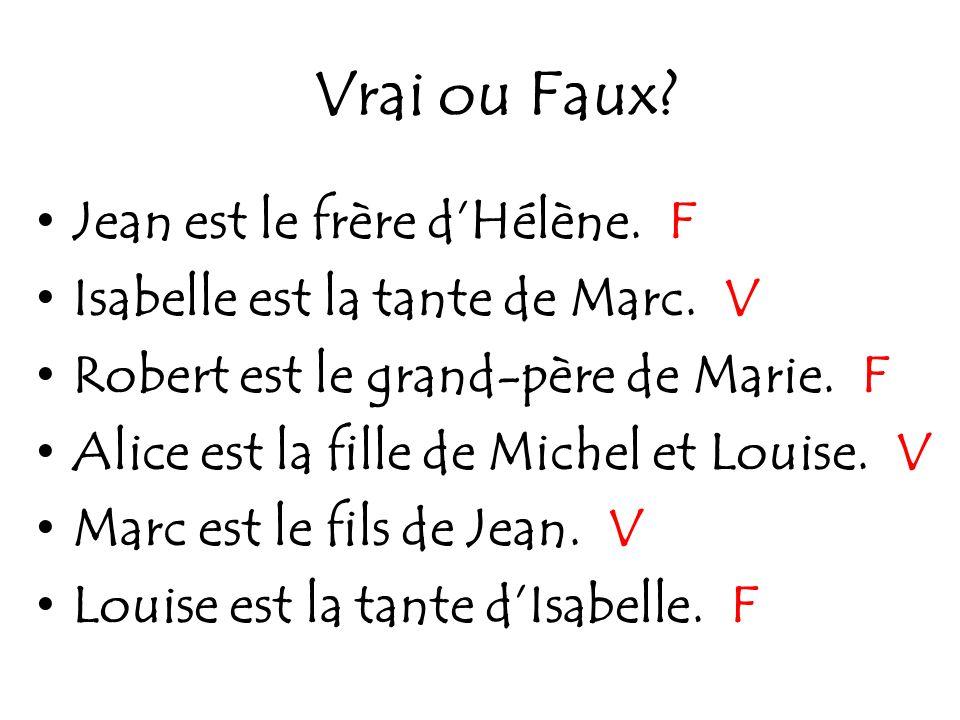 Vrai ou Faux Jean est le frère d'Hélène. F