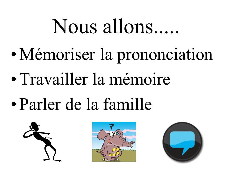 Nous allons..... Mémoriser la prononciation Travailler la mémoire