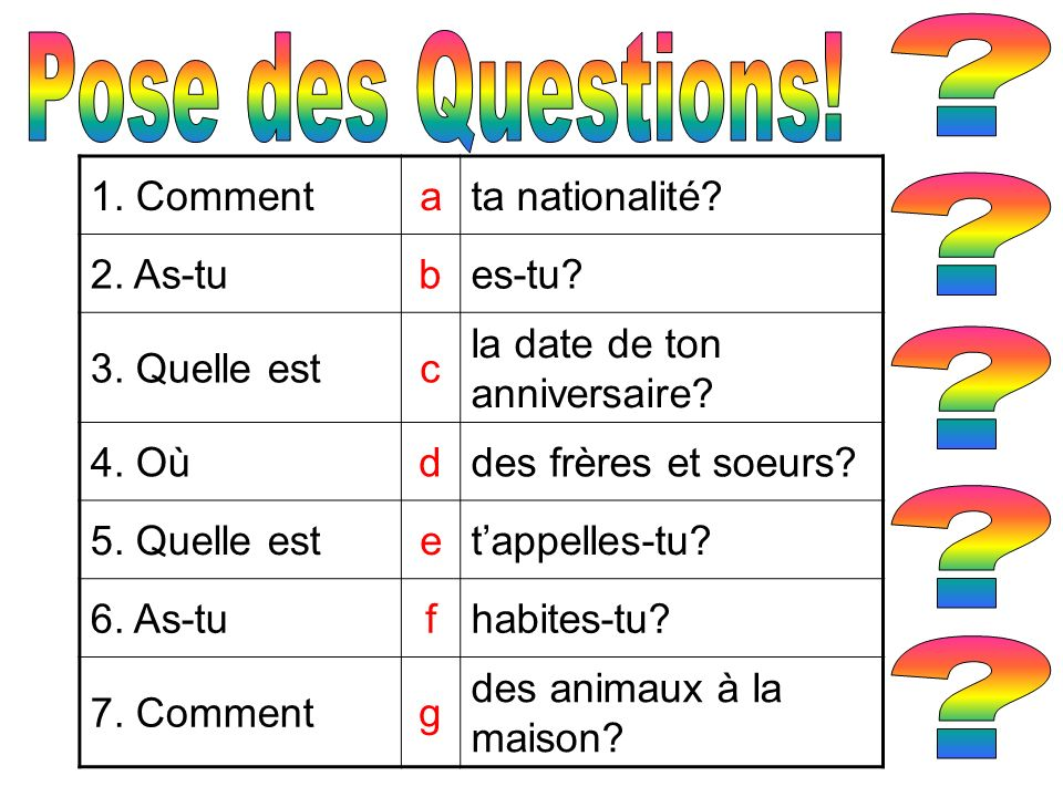 Pose des Questions! 1. Comment a ta nationalité 2. As-tu b