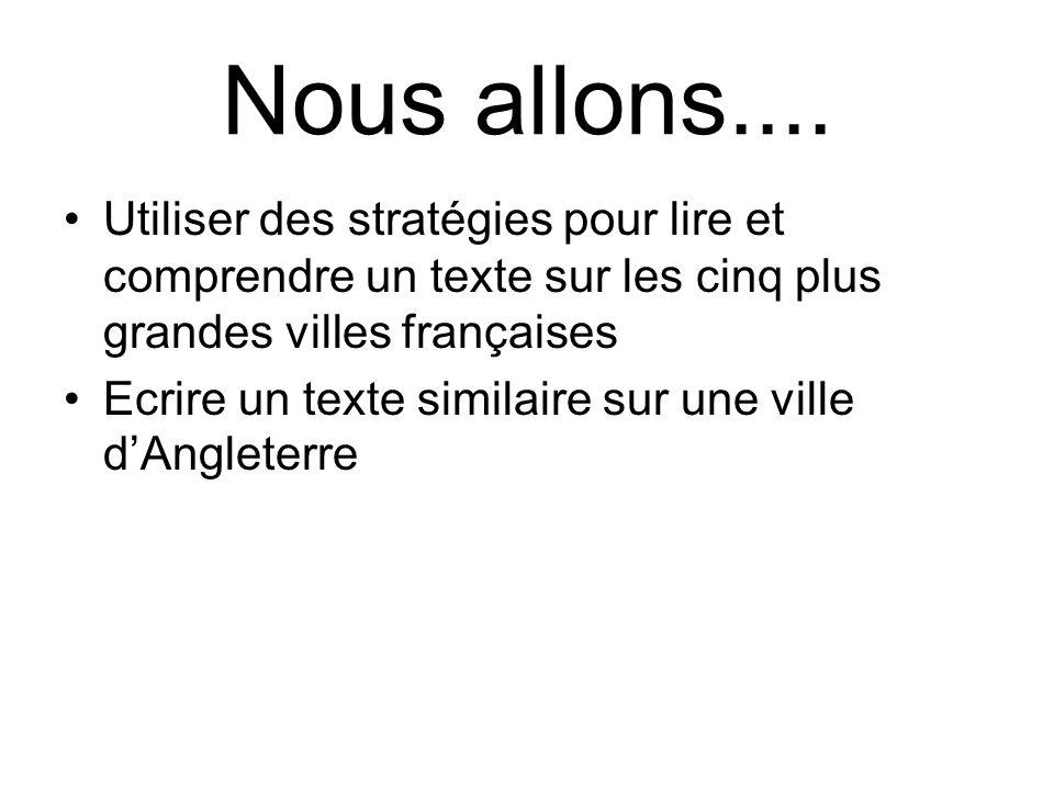 Nous allons.... Utiliser des stratégies pour lire et comprendre un texte sur les cinq plus grandes villes françaises.