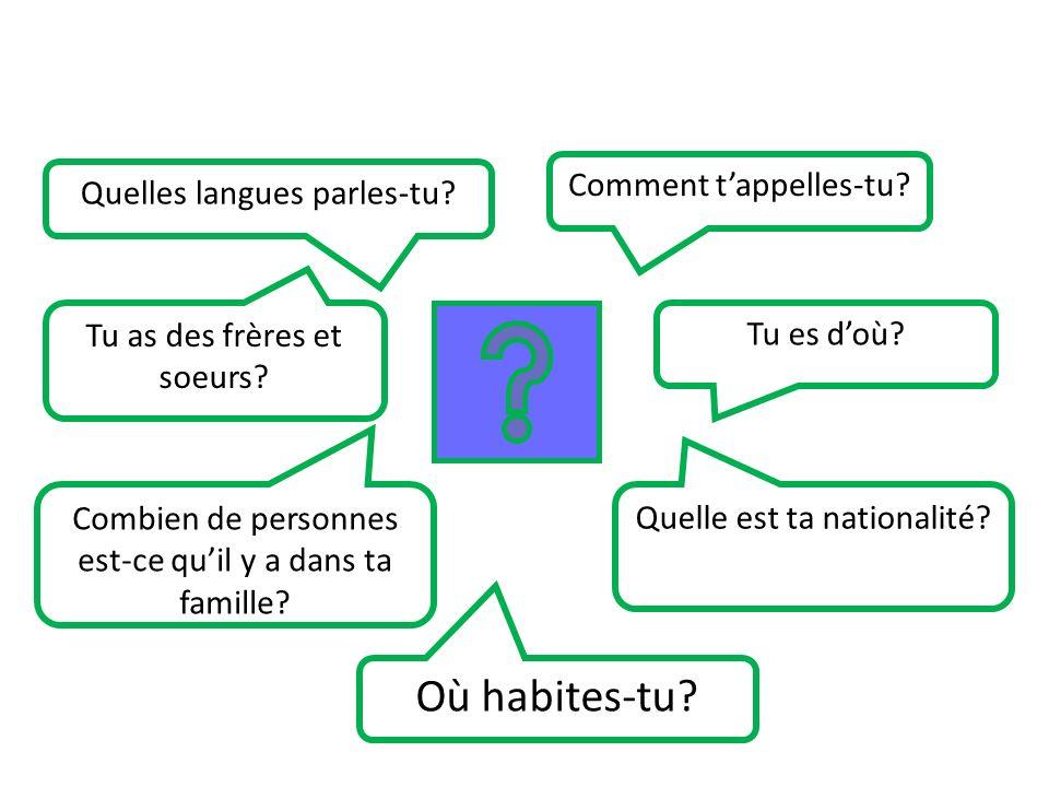 Où habites-tu Comment t'appelles-tu Quelles langues parles-tu