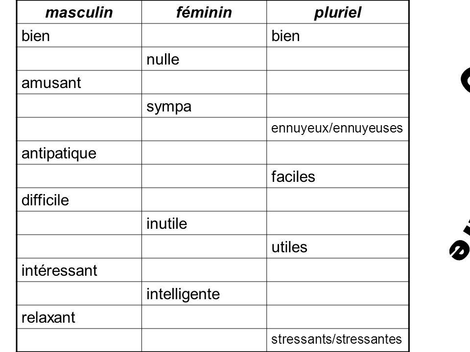 Grammaire masculin féminin pluriel bien nulle amusant sympa